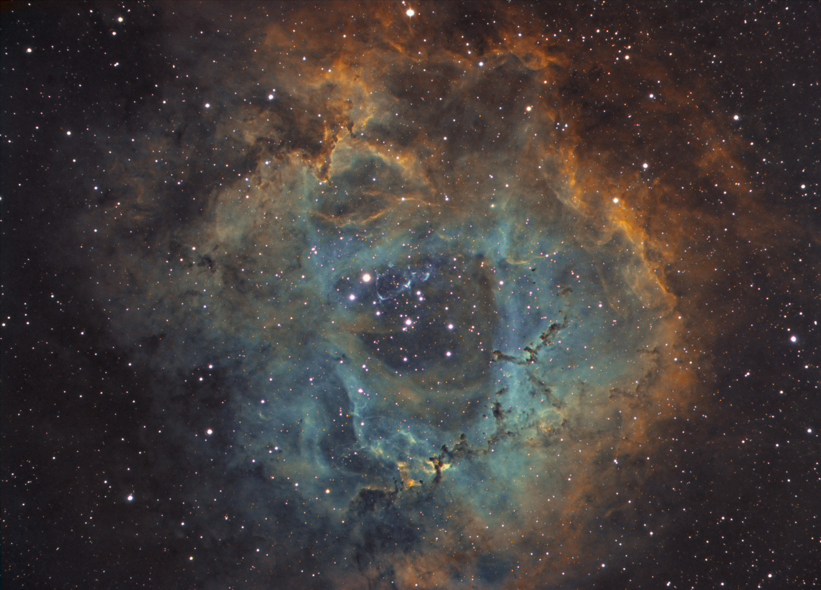 Rosette Nebula Hubble Color