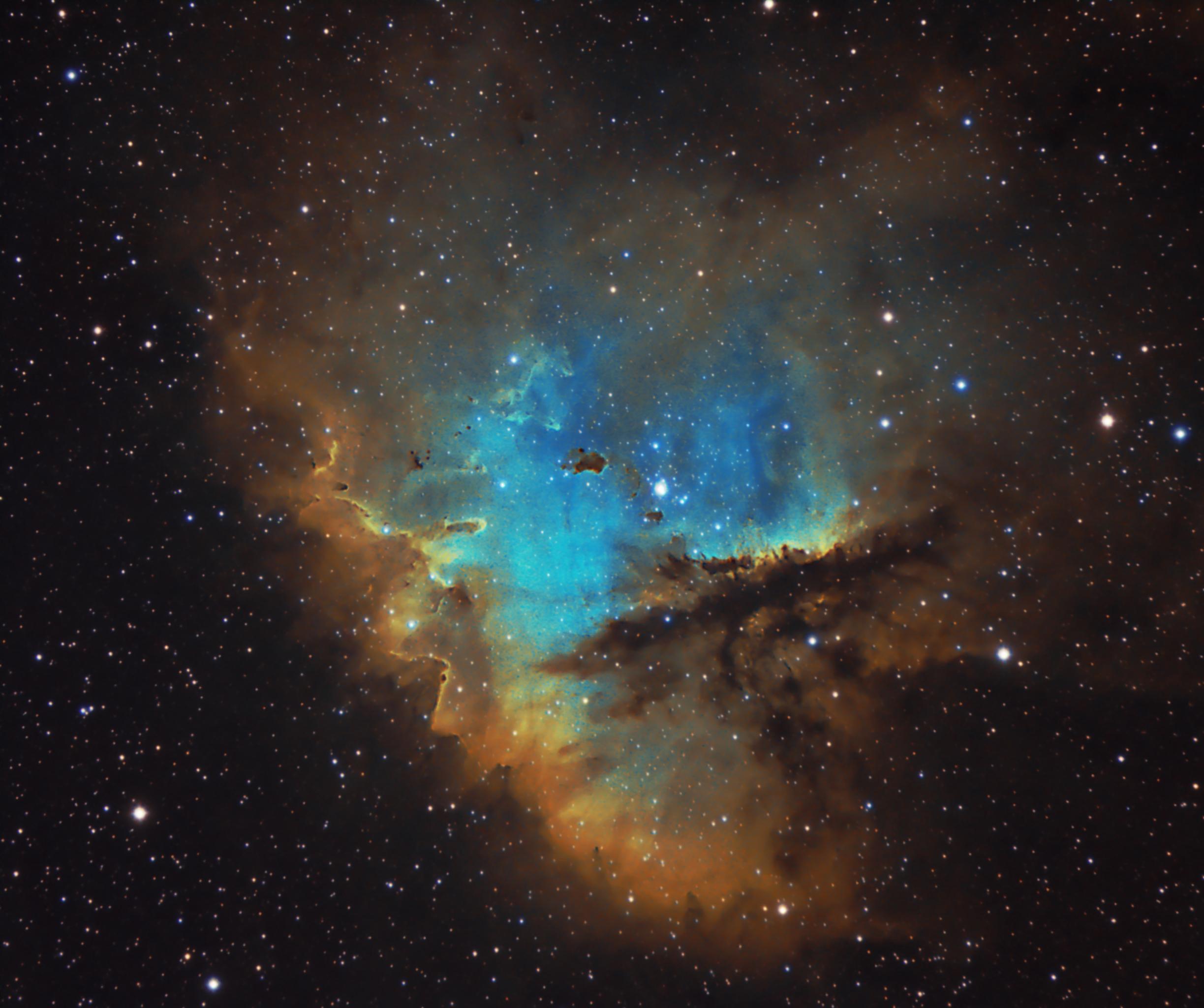PacMan Nebula NGC281 RGB&Hubble palet